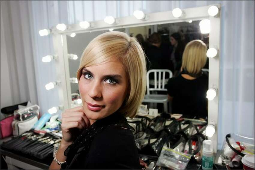 Finalist Jamie poses for a photograph backstage during the launch party for Australia's Next Top Model at b2Studios on Wednesday in Sydney, Australia.