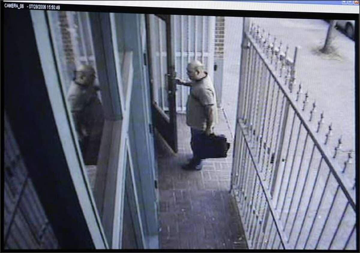 Surveillance footage recorded by security cameras at the Jewish Federation of Greater Seattle on July 28, 2006, shows Naveed Haq entering the building. The footage was offered as evidence in the trial against Haq at the King County Courthouse. Haq is accused of killing one woman and wounding five during the shooting.