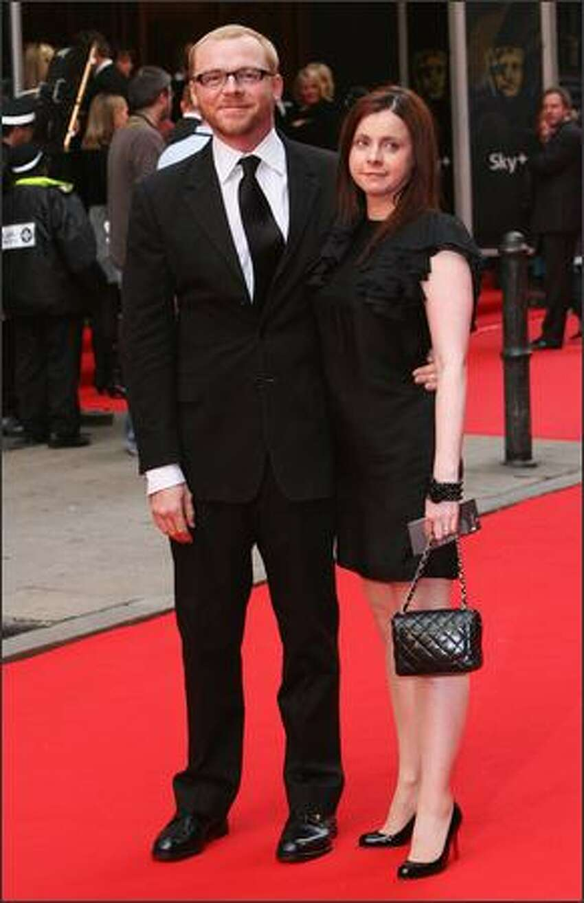 Simon Pegg and his wife Maureen McCann arrive for the British Academy Television Awards 2008 at The Palladium on April 20, 2008 in London, England.