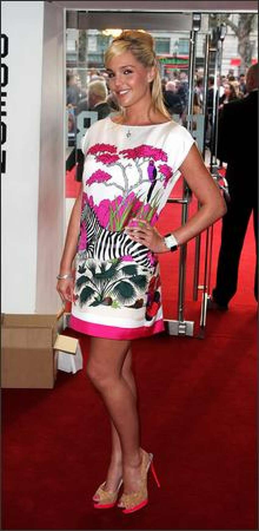 Danielle Lloyd arrives at the World Charity premiere of 'Three And Out' at the Odeon cinema, Leicester Square on Monday in London, England.