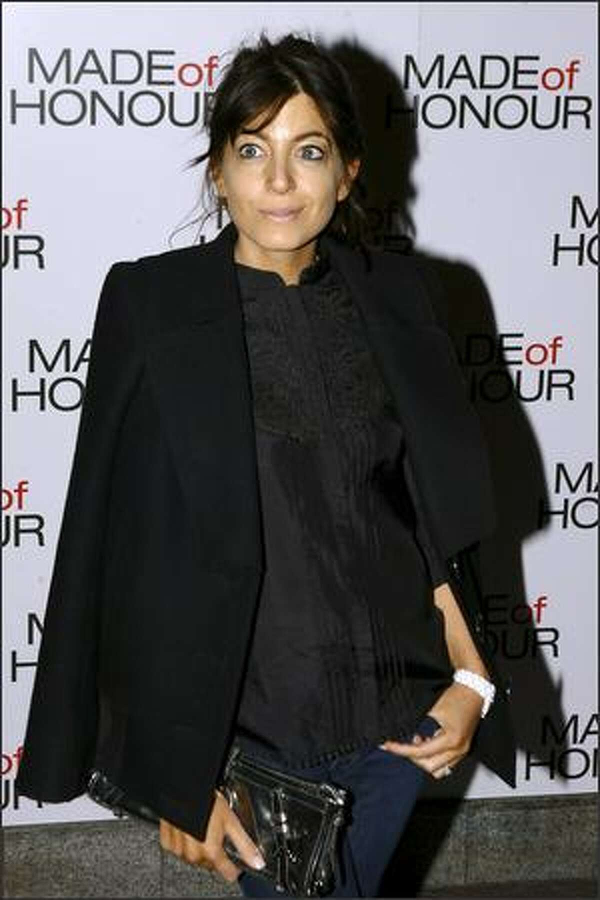 Claudia Winkleman arrives at the celebrity screening of 'Made Of Honour' at the Soho Hotel on Monday in London, England.