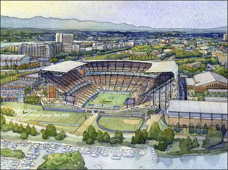 In this conceptual drawing created by HOK Sports, the view looking west over Husky Stadium is shown with the addition of a west-end upper deck on the stadium. Then-athletic director Todd Turner unveiled his vision of future UW athletic facilities in December 2006, shrouded by concerns over funding and massive transportation projects. Photo: / Associated Press