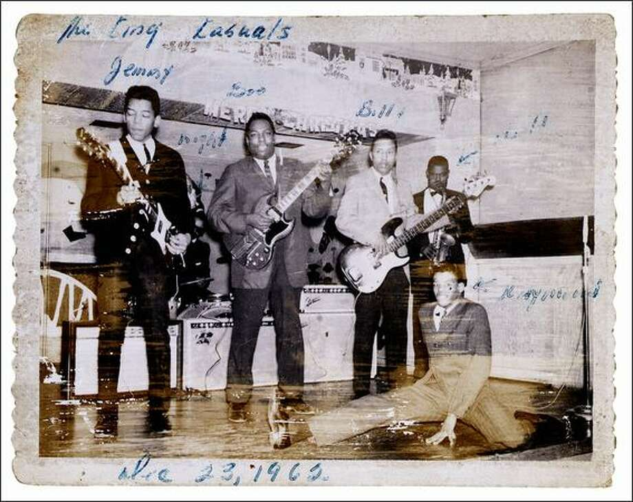 "Jimi Hendrix performing with the King Kasuals, Dec. 23, 1962. Part of the the EMP's ""Jimi Hendrix: An Evolution of Sound"" exhibit.