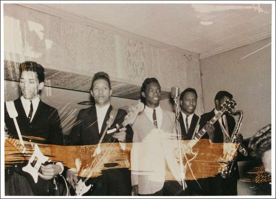 "Jimi Hendrix with the King Kasuals in performance, at the Club Del Morocco, Nashville, Tenn., May 19, 1963. Part of the the EMP's ""Jimi Hendrix: An Evolution of Sound"" exhibit.