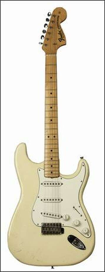 """Fender Stratocaster, 1968: formerly owned by Jimi Hendrix. Part of the the EMP's """"Jimi Hendrix: An Evolution of Sound"""" exhibit.  Photo courtesy of Experience Music Project"""