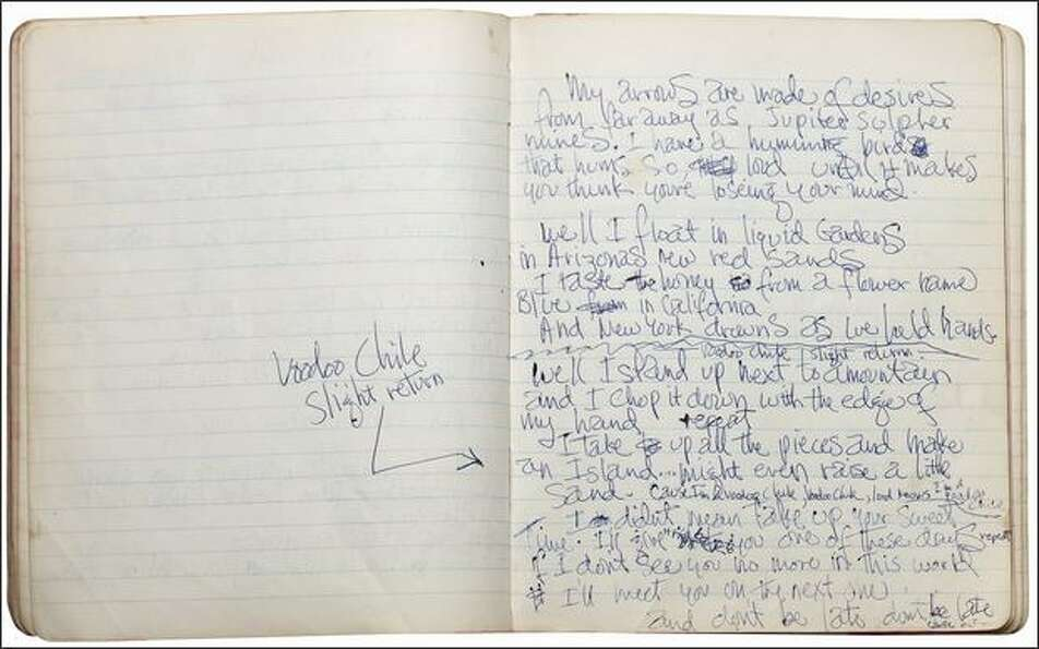Electric Ladyland: handwritten lyrics by Jimi Hendrix, 1968. Part of the the EMP's
