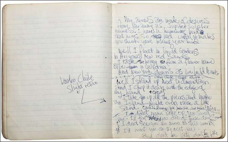 "Electric Ladyland: handwritten lyrics by Jimi Hendrix, 1968. Part of the the EMP's ""Jimi Hendrix: An Evolution of Sound"" exhibit.