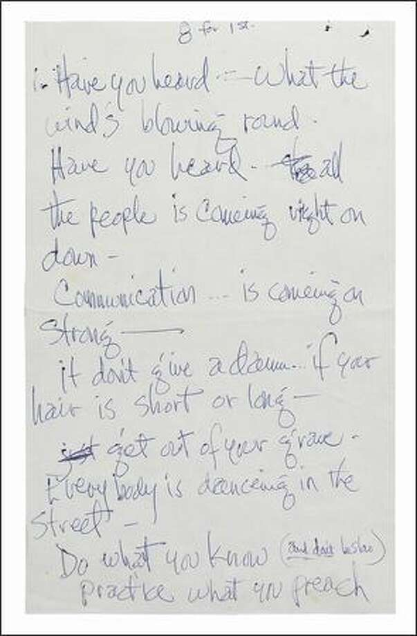 """Handwritten lyrics. Part of the the EMP's """"Jimi Hendrix: An Evolution of Sound"""" exhibit.  Photo courtesy of Experience Music Project"""