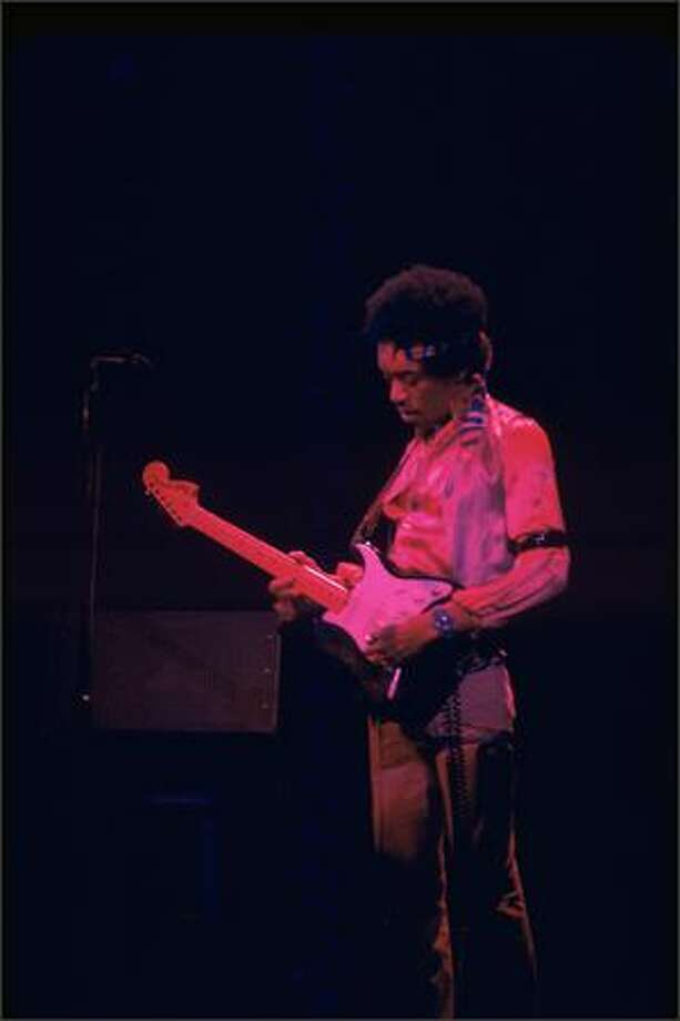 "Jimi Hendrix in performance at Fillmore East, New York, Jan. 1, 1970. Part of the the EMP's ""Jimi Hendrix: An Evolution of Sound"" exhibit.