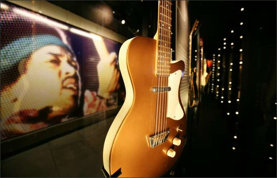 This Sears Silvertone electric guitar (circa. 1957-58) was possibly the first guitar played by Jimi Hendrix. It was owned by Joe Gray, a friend and classmate of Hendrix, who loaned him the guitar to play local gigs in Seattle. Photo: Paul Joseph Brown, Seattle Post-Intelligencer