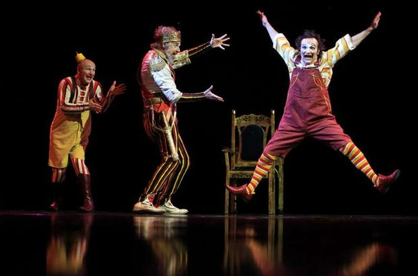 Clowns entertain between acts during a performance of Cirque du Soleil's KOOZA.
