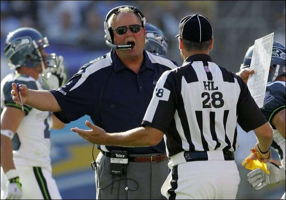 Seahawks coach Mike Holmgren argues his case during a preseason game against the Chargers. Photo: Chris Park/Associated Press
