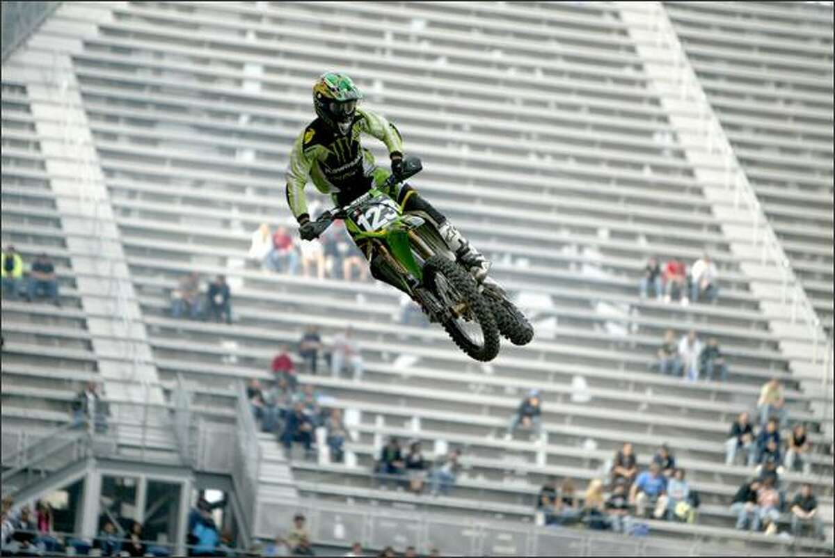 Brett Metcalfe gets some air during a qualifying practice.