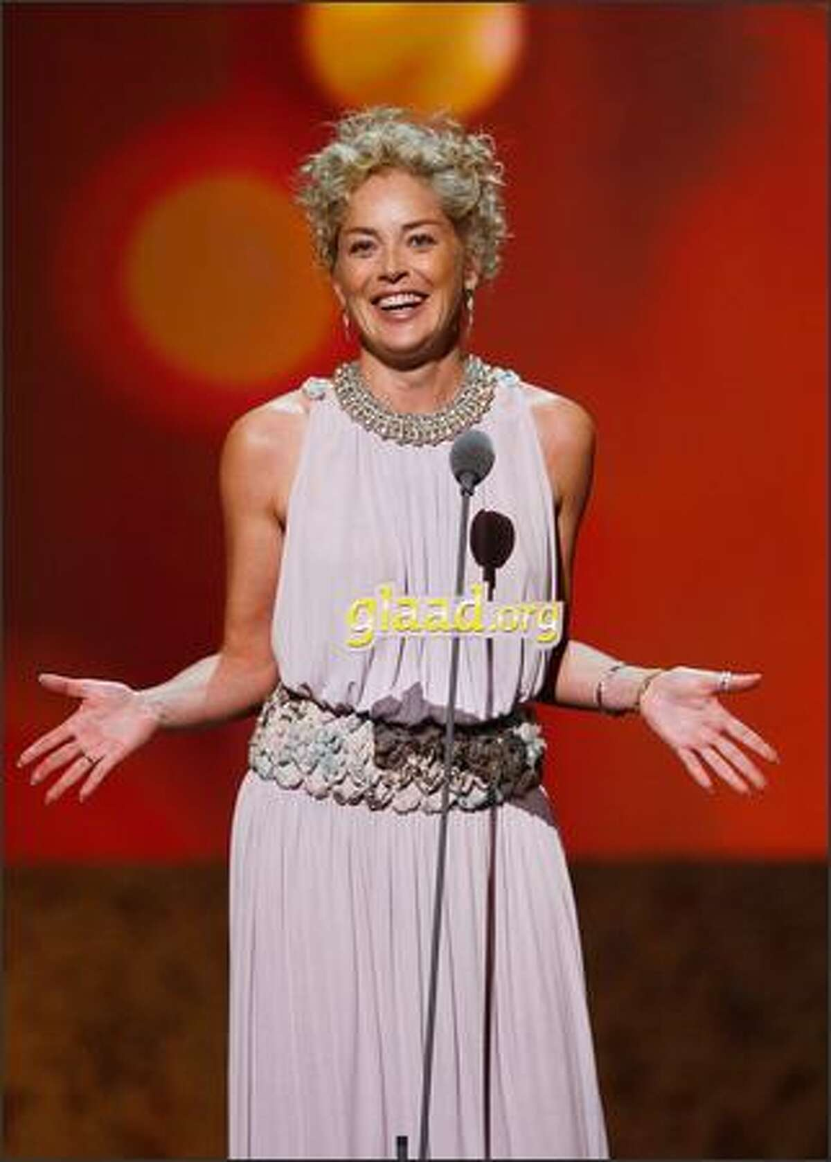 Actress Sharon Stone speaks onstage at the 19th Annual GLAAD Media Awards on April 26, 2008 at the Kodak Theatre in Hollywood, California.