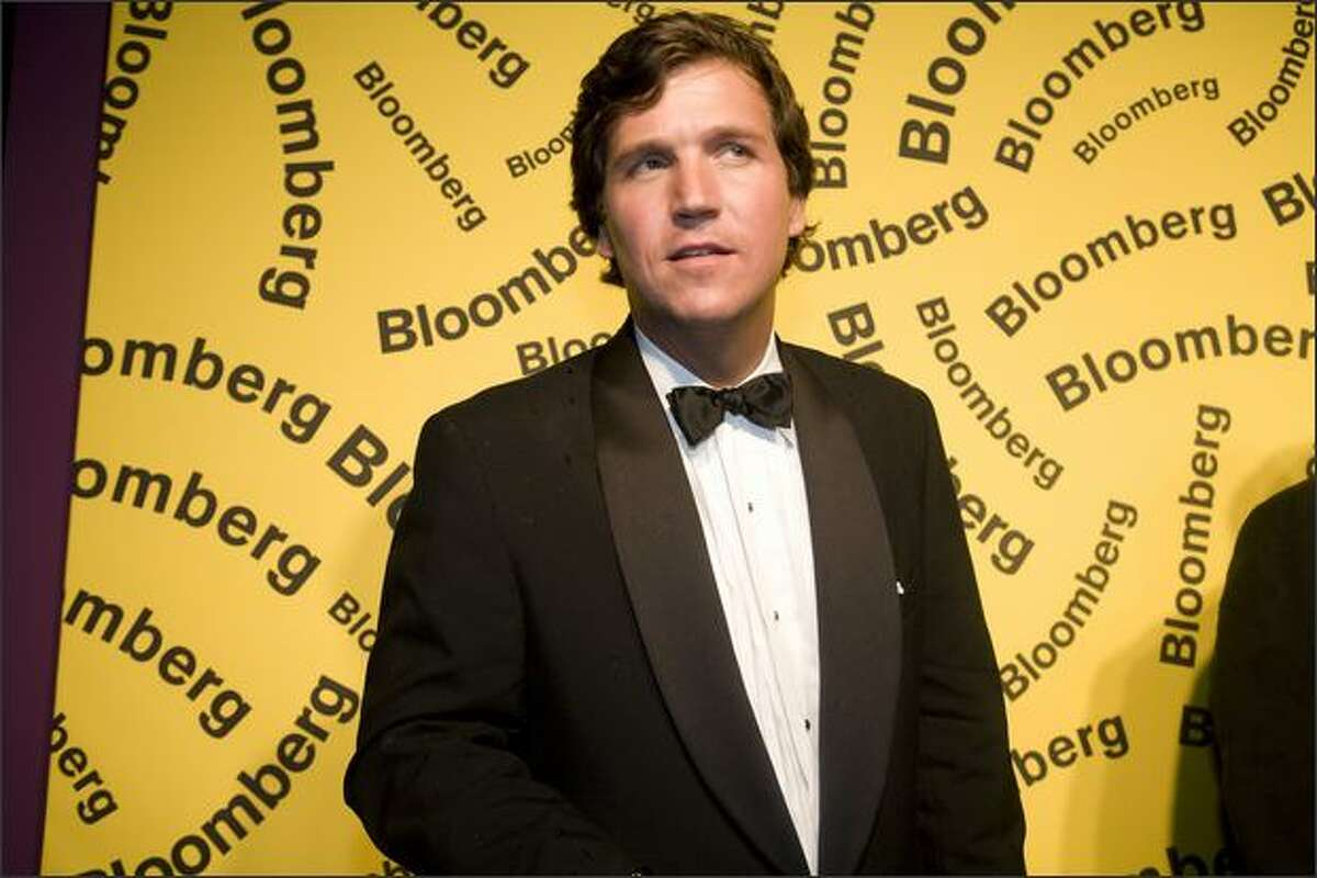 Seattle bashing Fox News host Tucker Carlson, pictured arriving at the Bloomberg afterparty following the White House Correspondents' Dinner in Washington, DC.