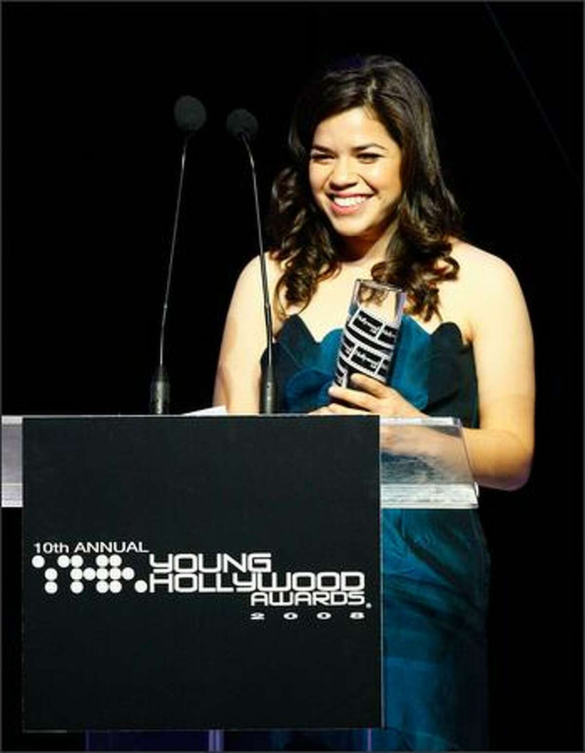 Actress America Ferrera appears at Hollywood Life Magazine's 10th Annual Young Hollywood Awards at Avalon in Hollywood on Sunday.