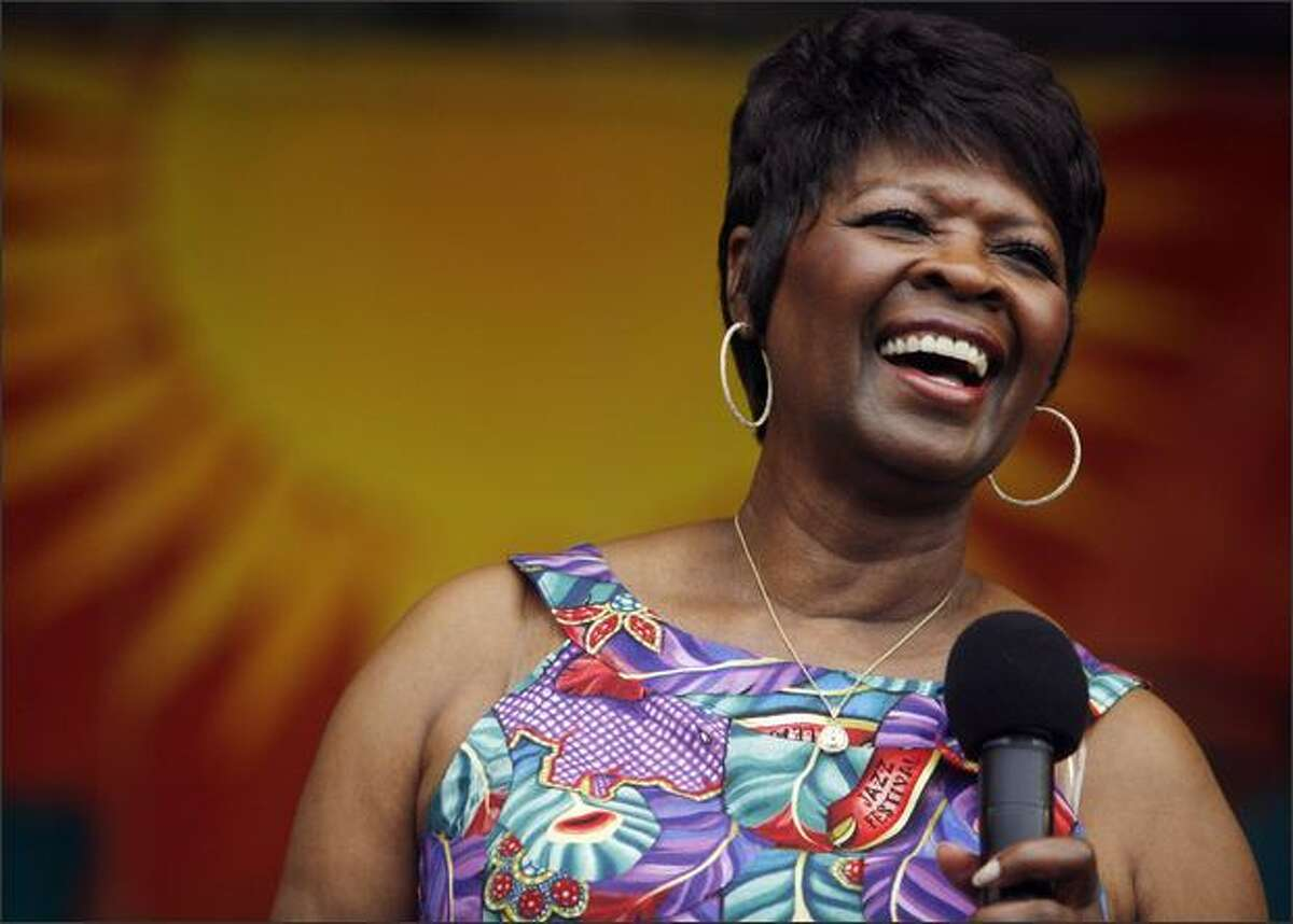 Singer Irma Thomas performs Sunday during the New Orleans Jazz & Heritage Festival at the Fair Grounds Race Course in New Orleans.