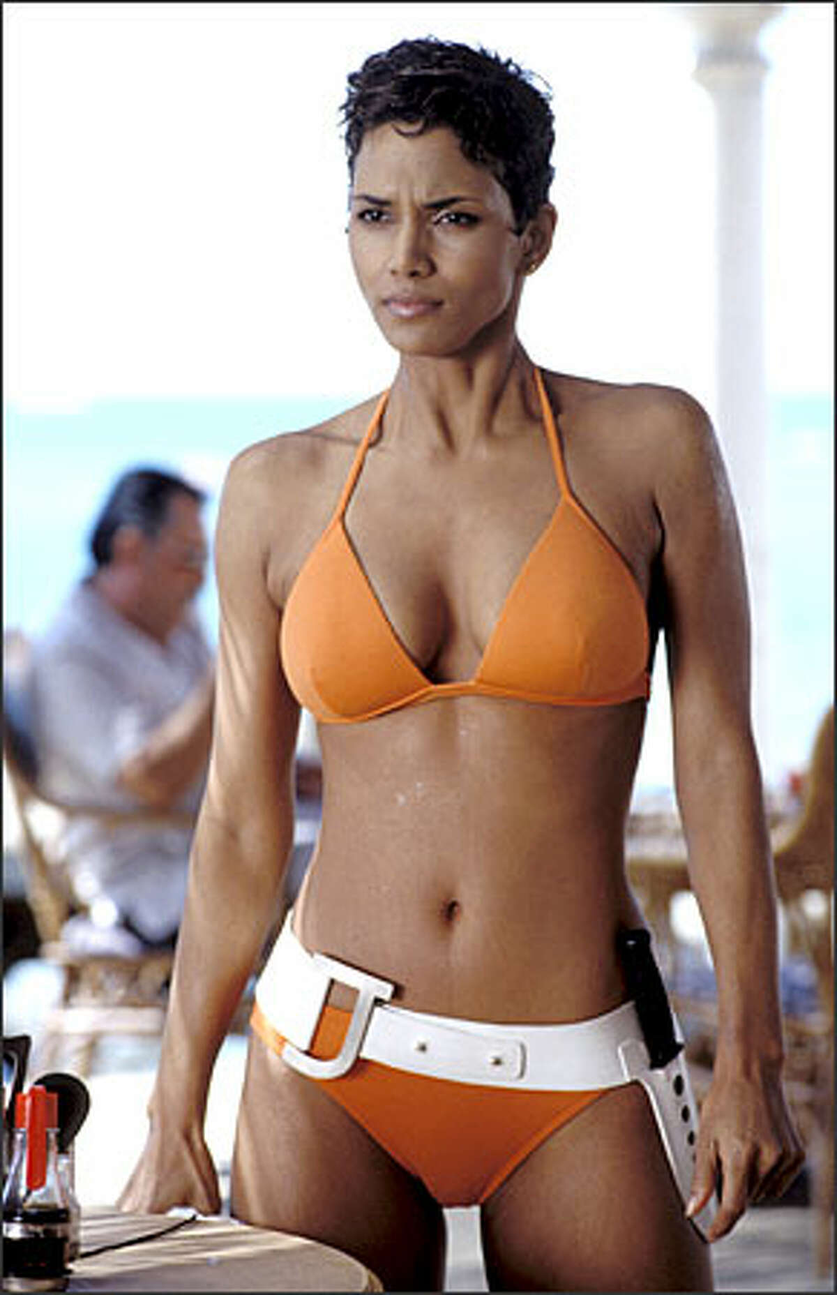 Halle Berry makes an impressive entrance as Jinx in Die Another Day.