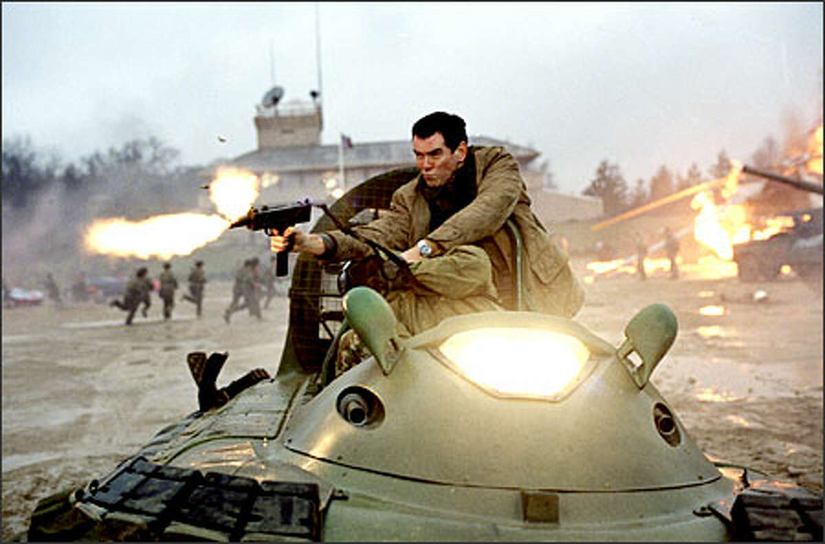 James Bond (Pierce Brosnan) fights the enemy from atop a speeding Hovercraft.