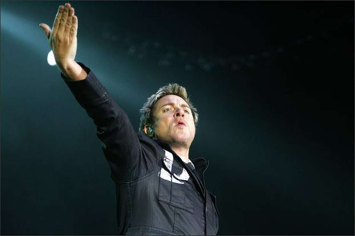 Simon Le Bon lead singer for Duran Duran performs at the WaMu Theater in Seattle.