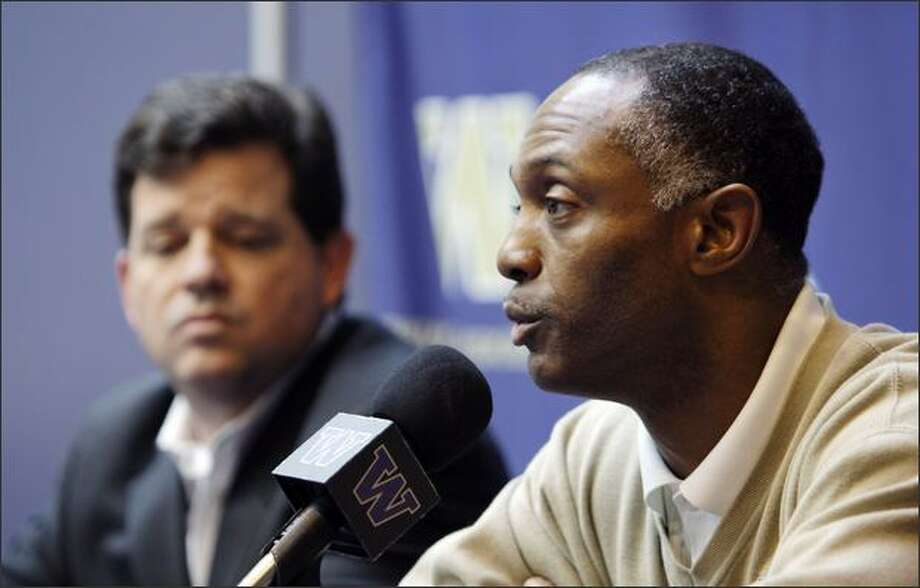 Washington coach Tyrone Willingham, right, speaks as athletic director Scott Woodward sits nearby at Willingham's regular news conference Monday8, in Seattle, where he announced that he is resigning effective at the end of the season. The embattled Washington coach fell to 0-7 on Saturday, Oct. 25, after a 33-7 loss to Notre Dame. Photo: / Associated Press