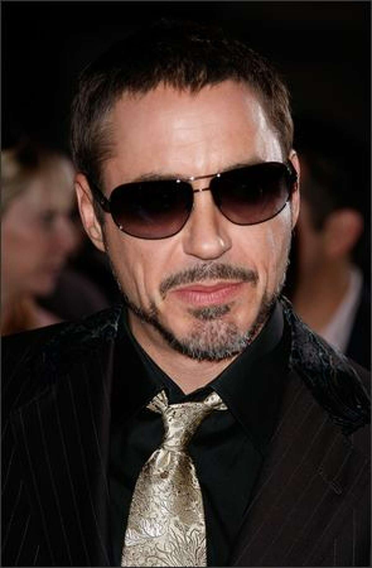 Actor Robert Downey Jr. arrives at the premiere at Grauman's Chinese Theatre.