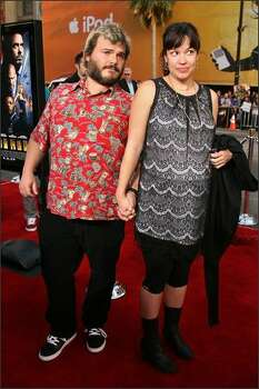 Actor Jack Black (left) and Tanya Haden arrive. Photo: Getty Images