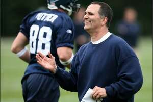 New Seahawks' offensive line coach Mike Solari was pleased with the effort on this play as the Seattle Seahawks conduct their first practice.