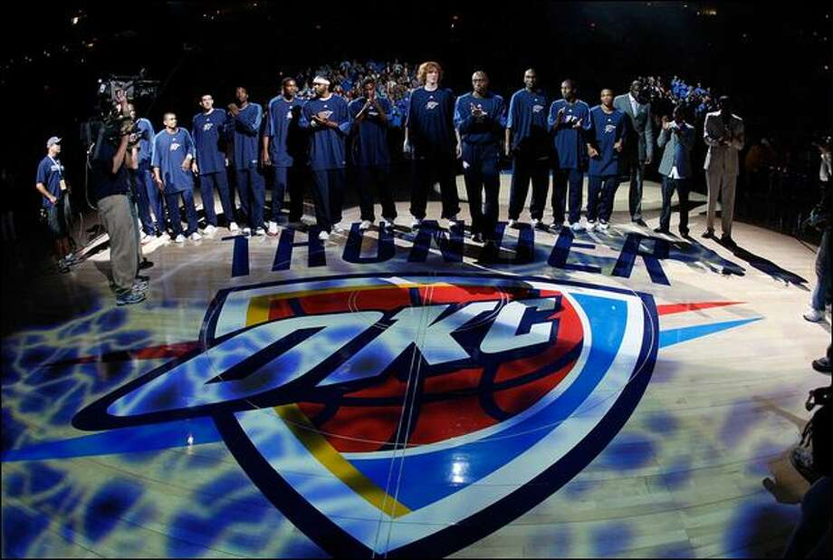 The former Seattle Sonics are introduced Wednesday as the Oklahoma City Thunder before playing the Milwaukee Bucks at the Ford Center in Oklahoma City. Photo: Chris Graythen/Getty Images