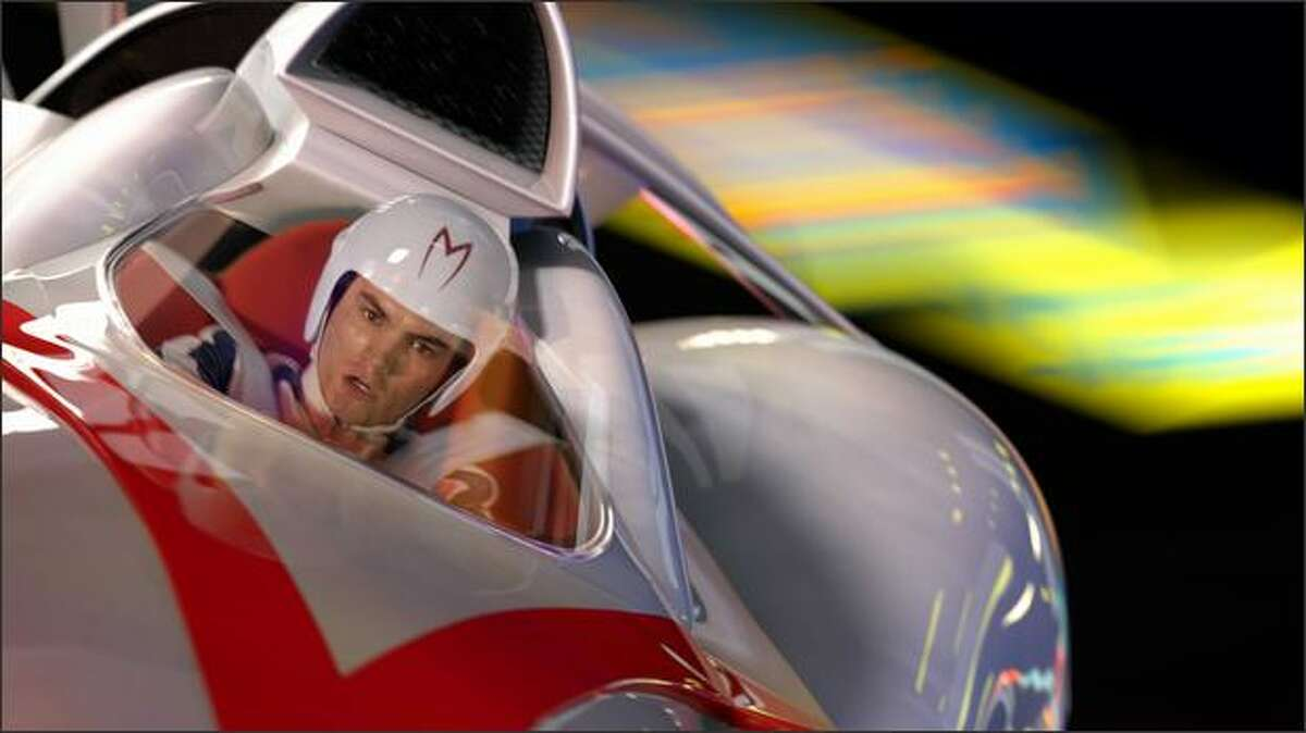 Emile Hirsch as Speed Racer driving in a scene from the action/adventure film