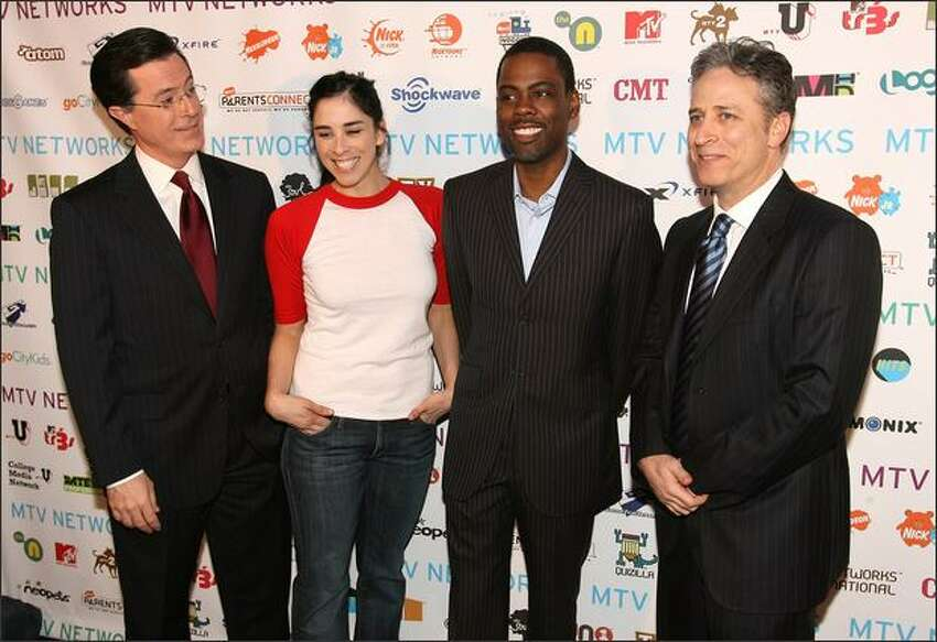 From left, TV personality Stephen Colbert, actress Sarah Silverman, actor/comedian Chris Rock and TV personality Jon Stewart attend the MTV Networks Upfront at the Nokia Theater in New York. The New York Times describes an upfront as the network's