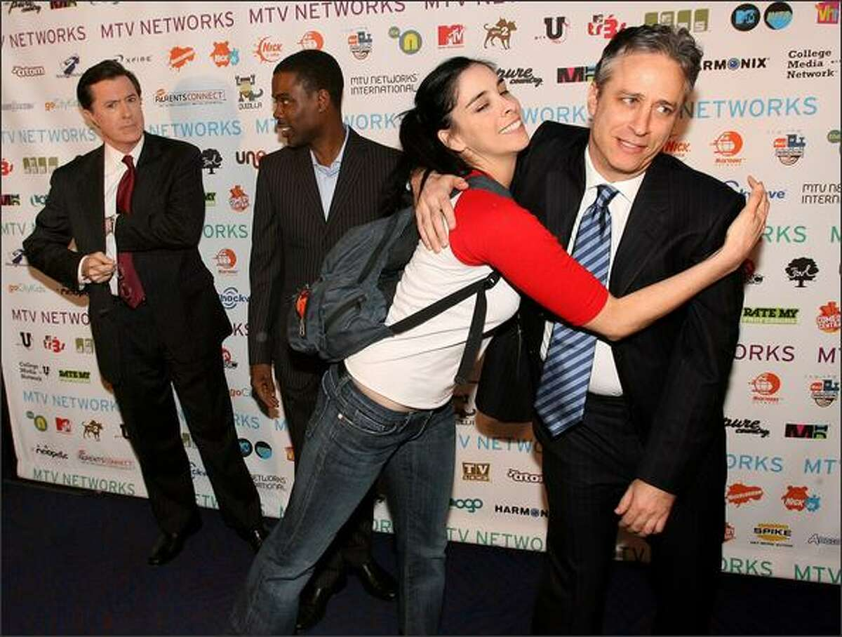 From left, Stephen Colbert, Chris Rock, Sarah Silverman and Jon Stewart arrive.