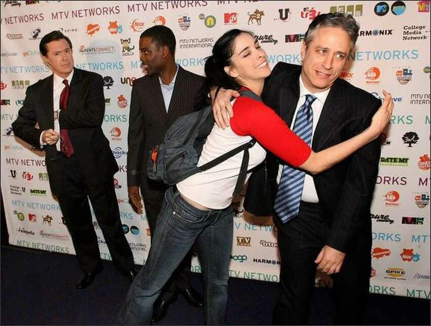 From left, Stephen Colbert, Chris Rock, Sarah Silverman and Jon Stewart arrive.
