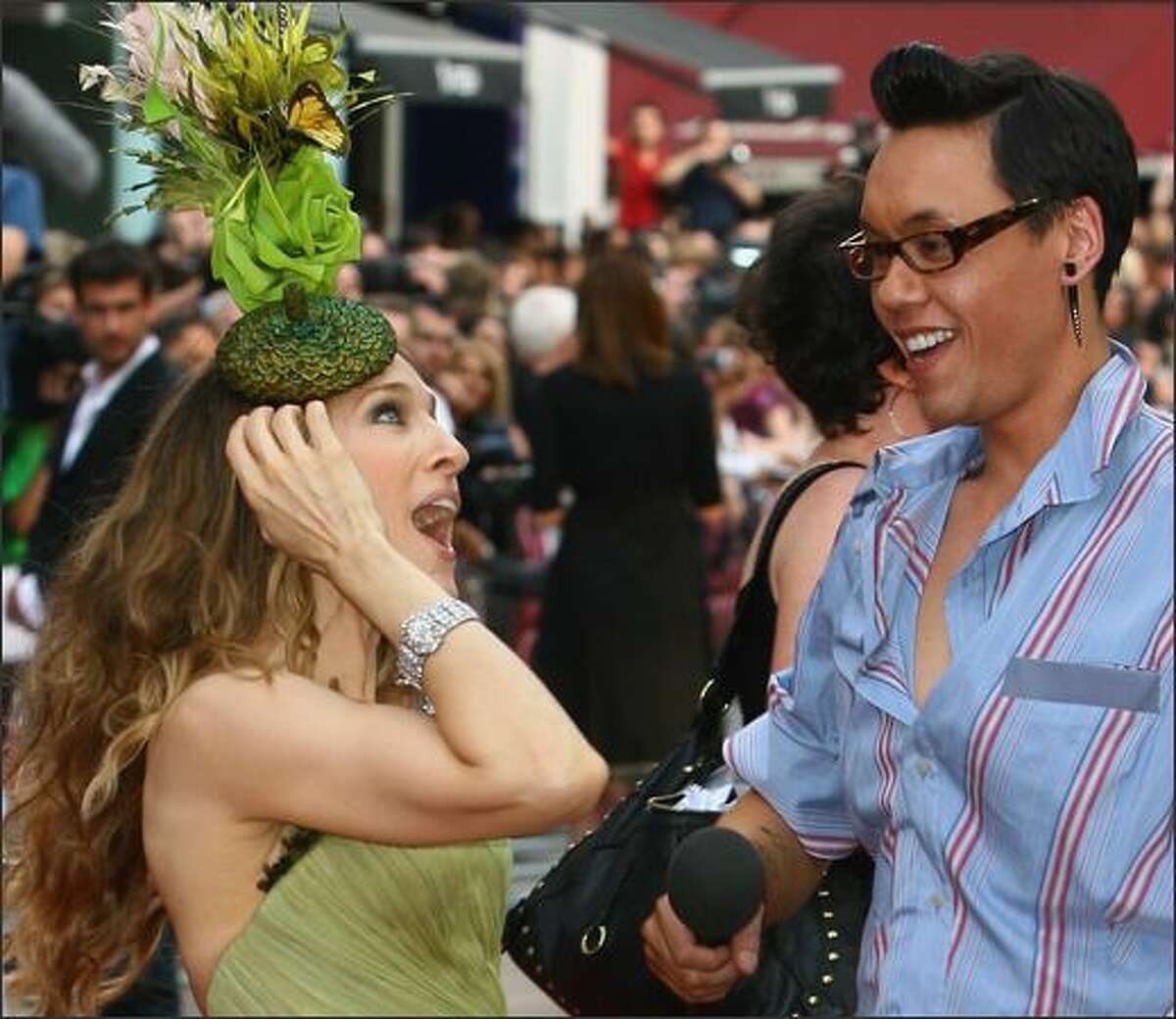 Actress Sarah Jessica Parker is interviewed by Gok Wan as she attends the world premiere of
