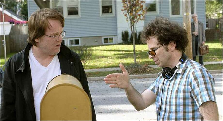 "Writer-director Charlie Kaufman, right, directs Philip Seymour Hoffman in ""Synecdoche, New York."" Photo: Abbot Gensler"