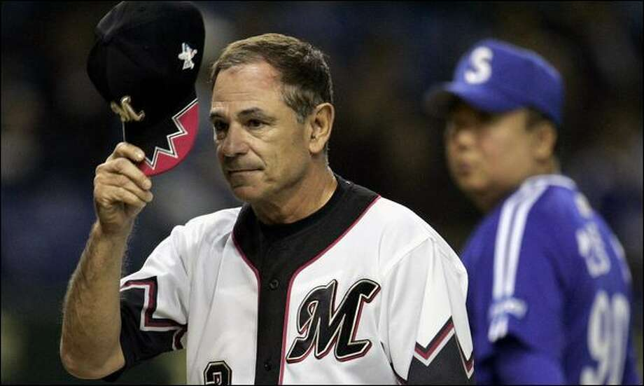 Bobby Valentine, shown as manager of Japan's Chiba Lotte Marines, has an out clause that would let him pursue a job in North America. Photo: Afp/Getty Images/2005