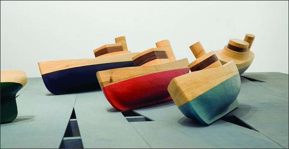 """Empty Quarter,"" a sculpture of poplar, paint and stain by Matt Sellars. Photo: Platform Gallery"