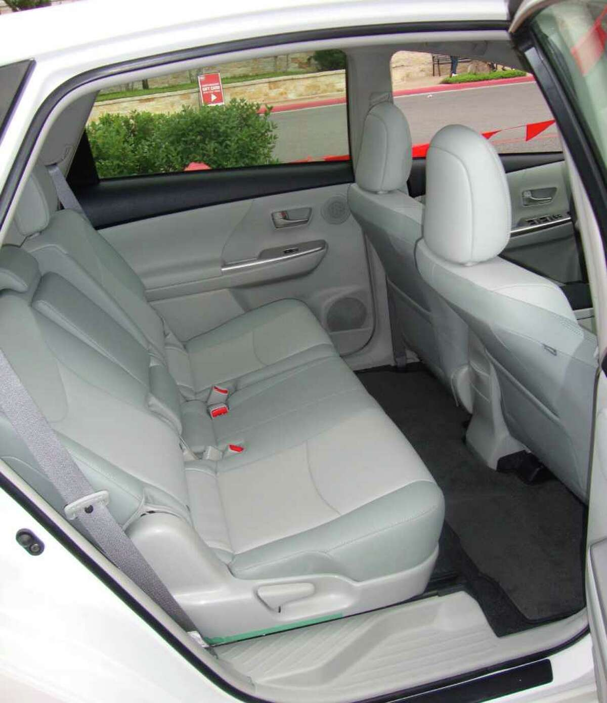 There is room for three people in the back seat of the 2012 Toyota Prius V crossover, which goes on sale later this year.