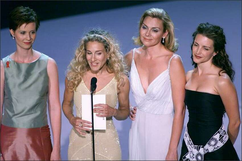 Cynthia Nixon, Sarah Jessica Parker, Kim Cattrall and Kristin Davis appear at the 1999 Emmy Awards held in Los Angeles, Sept. 13, 1999.