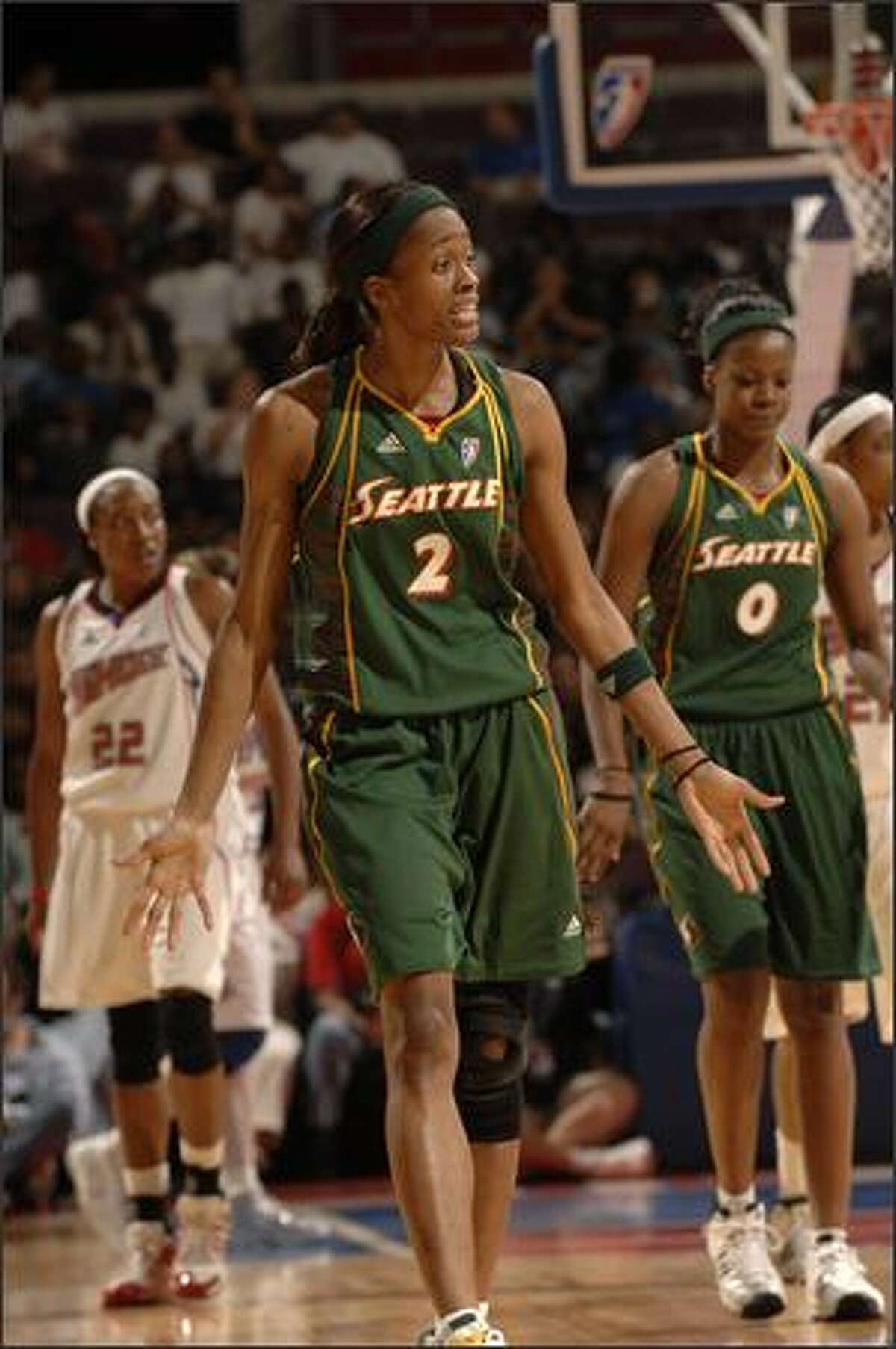 Seattle's Swin Cash reacts during a game against the Detroit Shock.