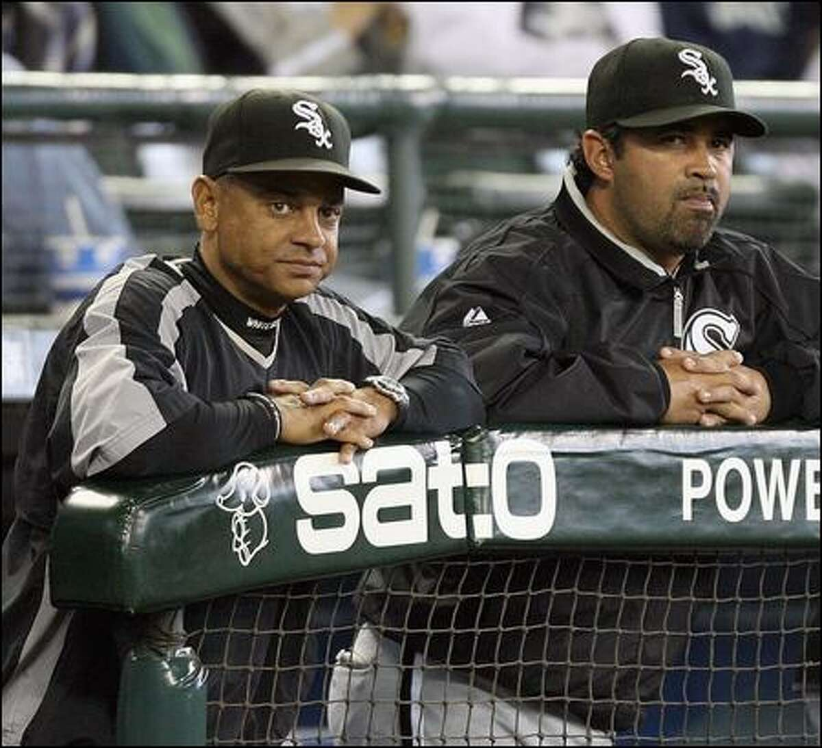 White Sox bench coach, Joey Cora, left, has worked with manager Ozzie Guillen in Chicago the past five years.