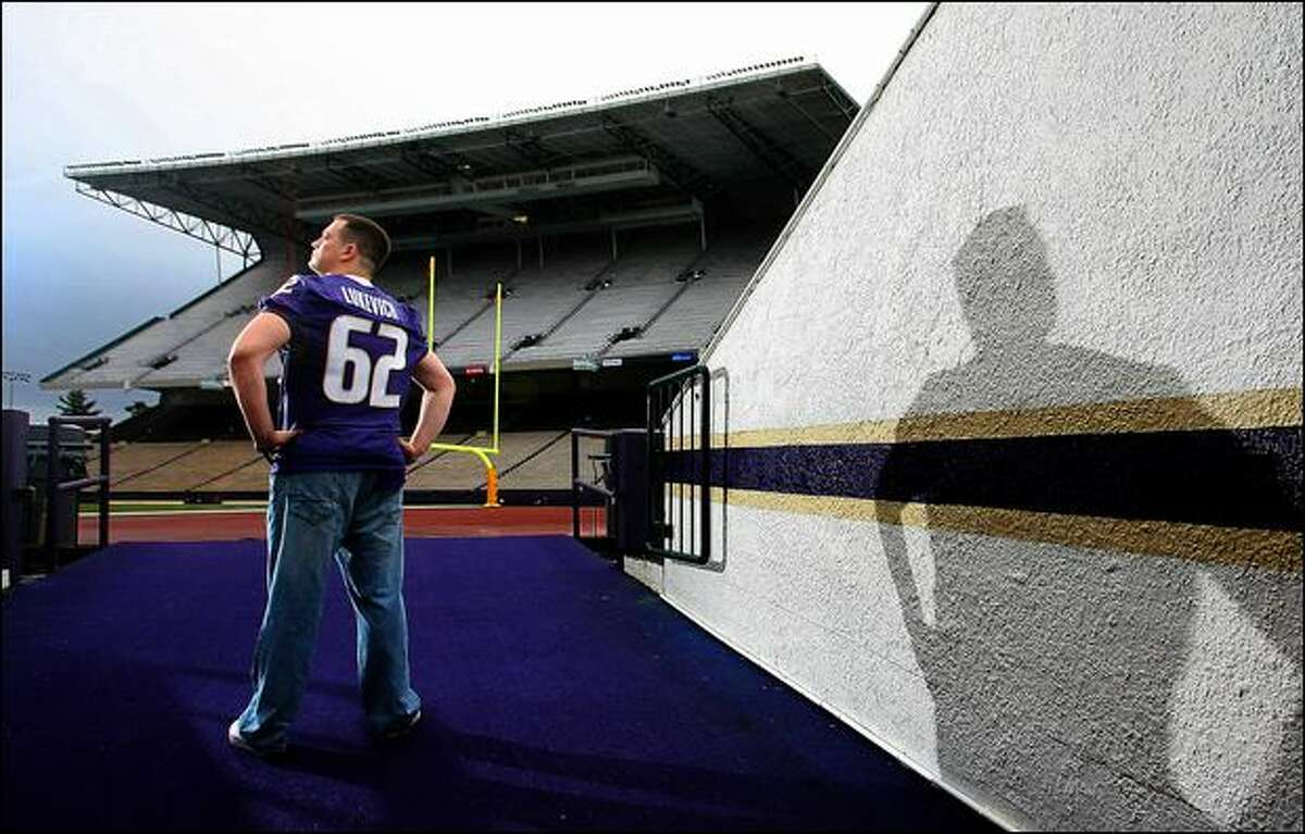 UW center Robert Lukevich, a 2004 walk-on in his fifth and final season, has never played in a game, but hasn't missed a practice since he was sidelined for a season in 2006.