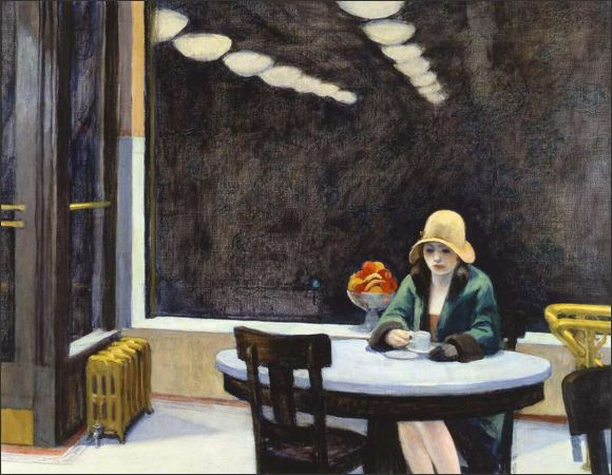 """The woman in """"Automat"""" from 1922 is sunk in her 1,000-yard Hopper stare. As always with Hopper, the architectural detailing supports an illusive narrative."""