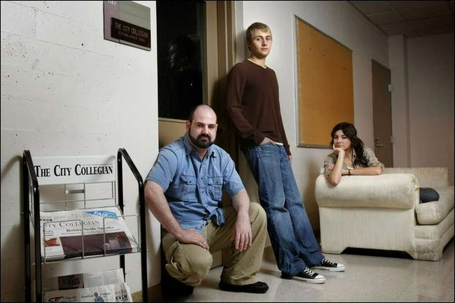 Seattle Central Community College students, left to right, J.K. Howell, 33, Jeffrey Smith, 22, and Hana Ryan Wilson, 21, planned to produce the City Collegian until it was shut down. Photo: Andy Rogers/Seattle Post-Intelligencer