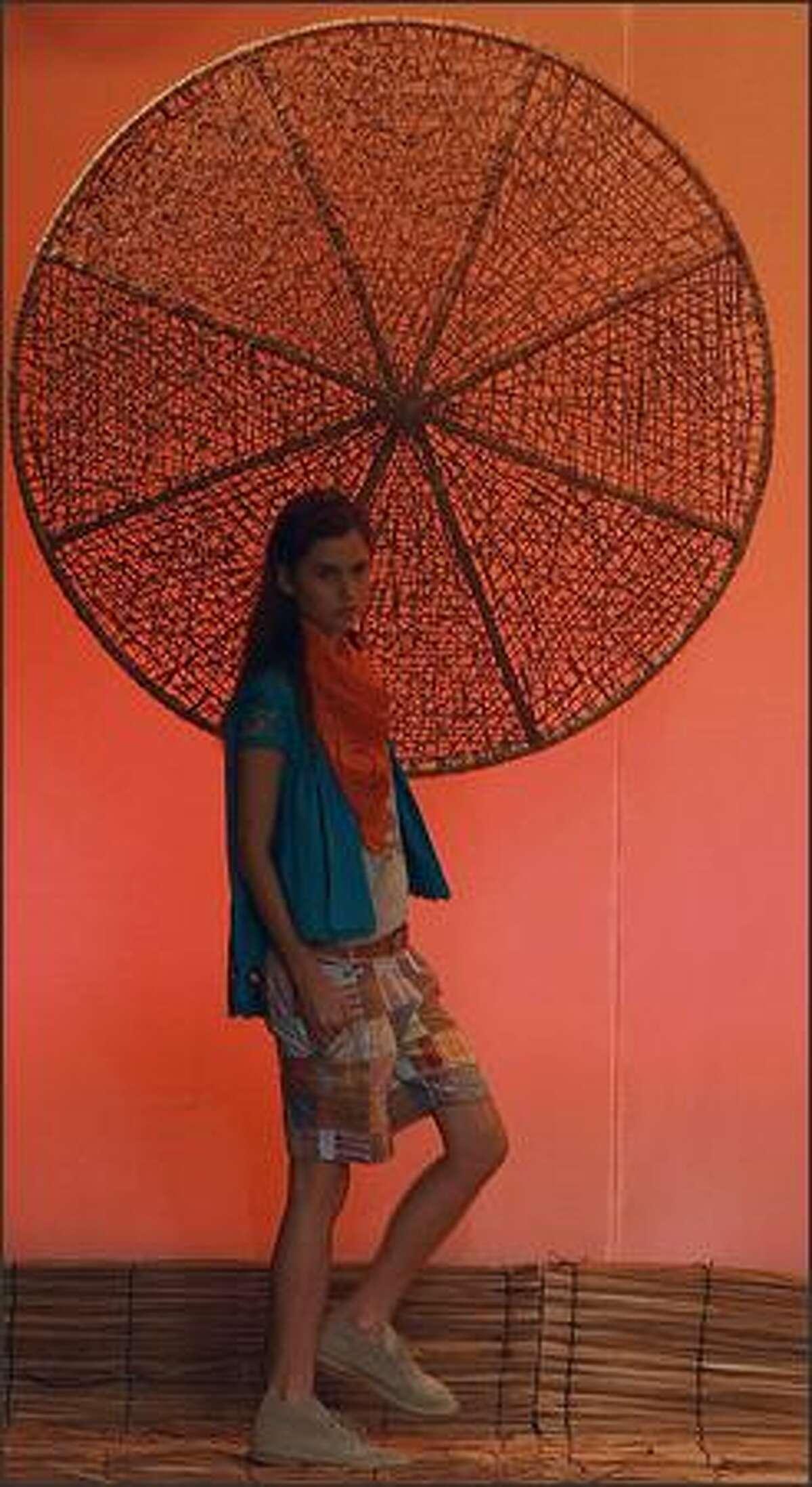 A model presents a creation by designer Teca during the Rio Fashion Week Spring-Summer 2008-09 collection, at the Marina da Gloria on Monday in Rio de Janeiro, Brazil.