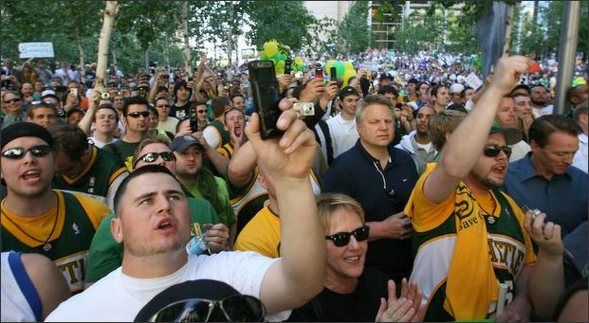 Seattle Sonics fans showed up in the thousands to support the city's basketball team.