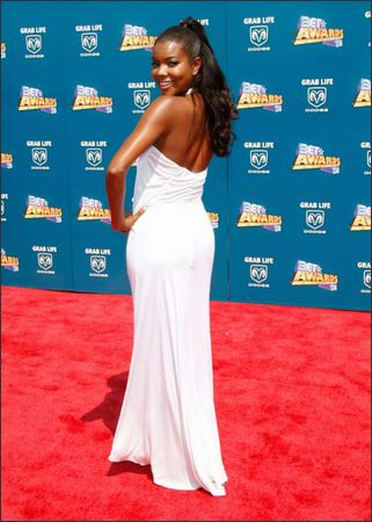 Actress Gabrielle Union arrives at the 2008 BET Awards held at the Shrine Auditorium in Los Angeles on Tuesday.