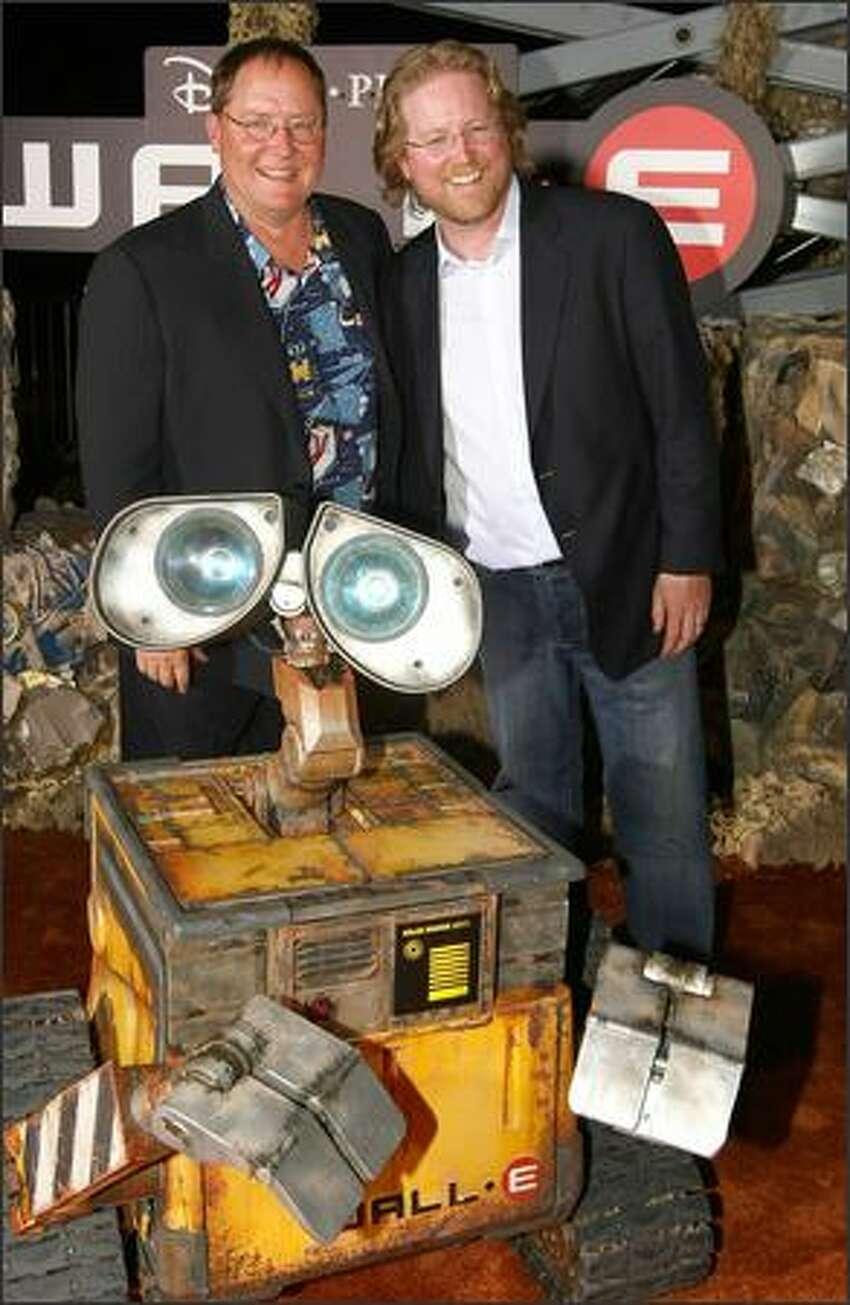 Producer John Lasseter and director Andrew Stanton arrive at the world premiere of Disney-Pixar's film