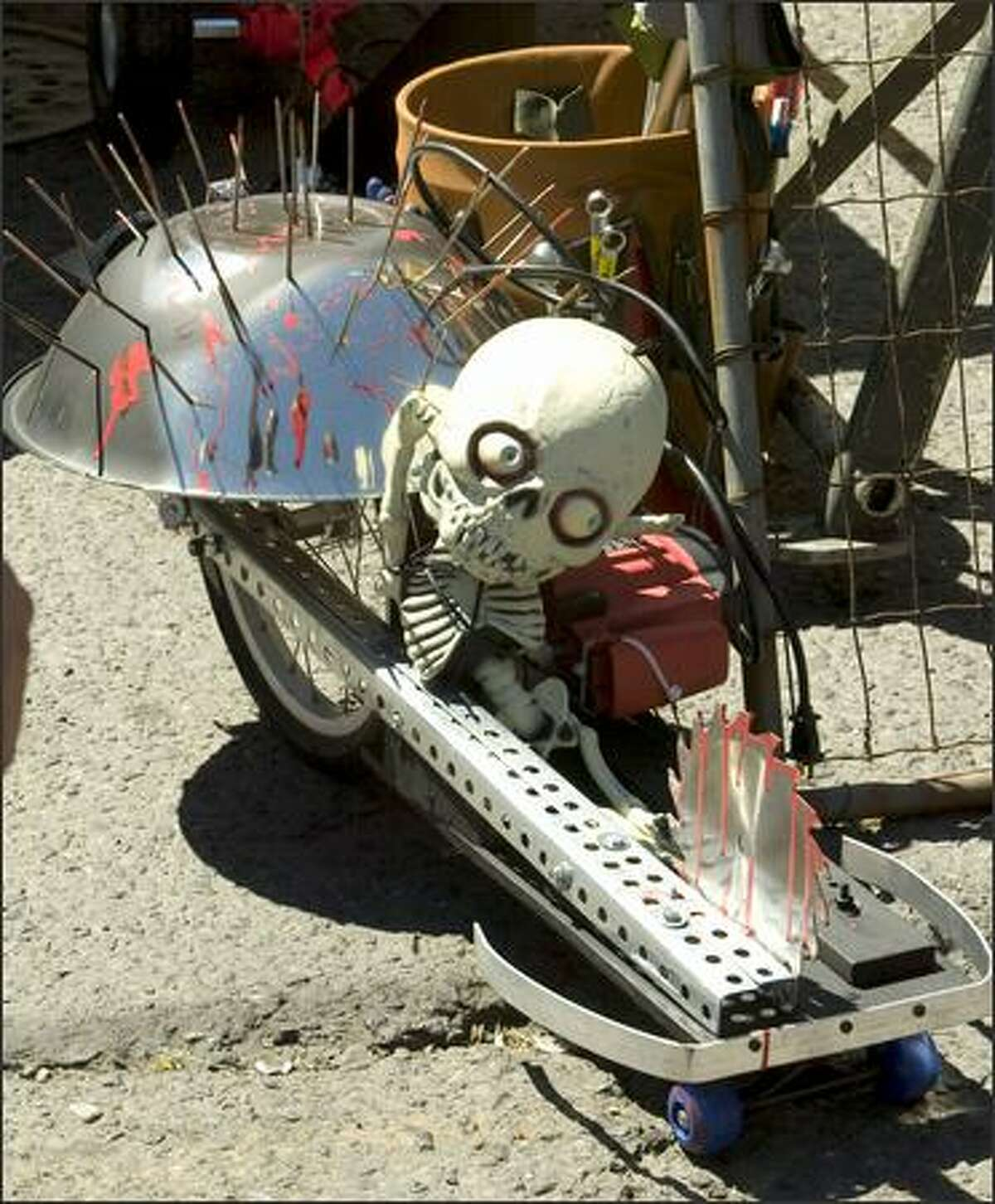 """The """"Dome of Death"""" waits to compete in the power tool races."""