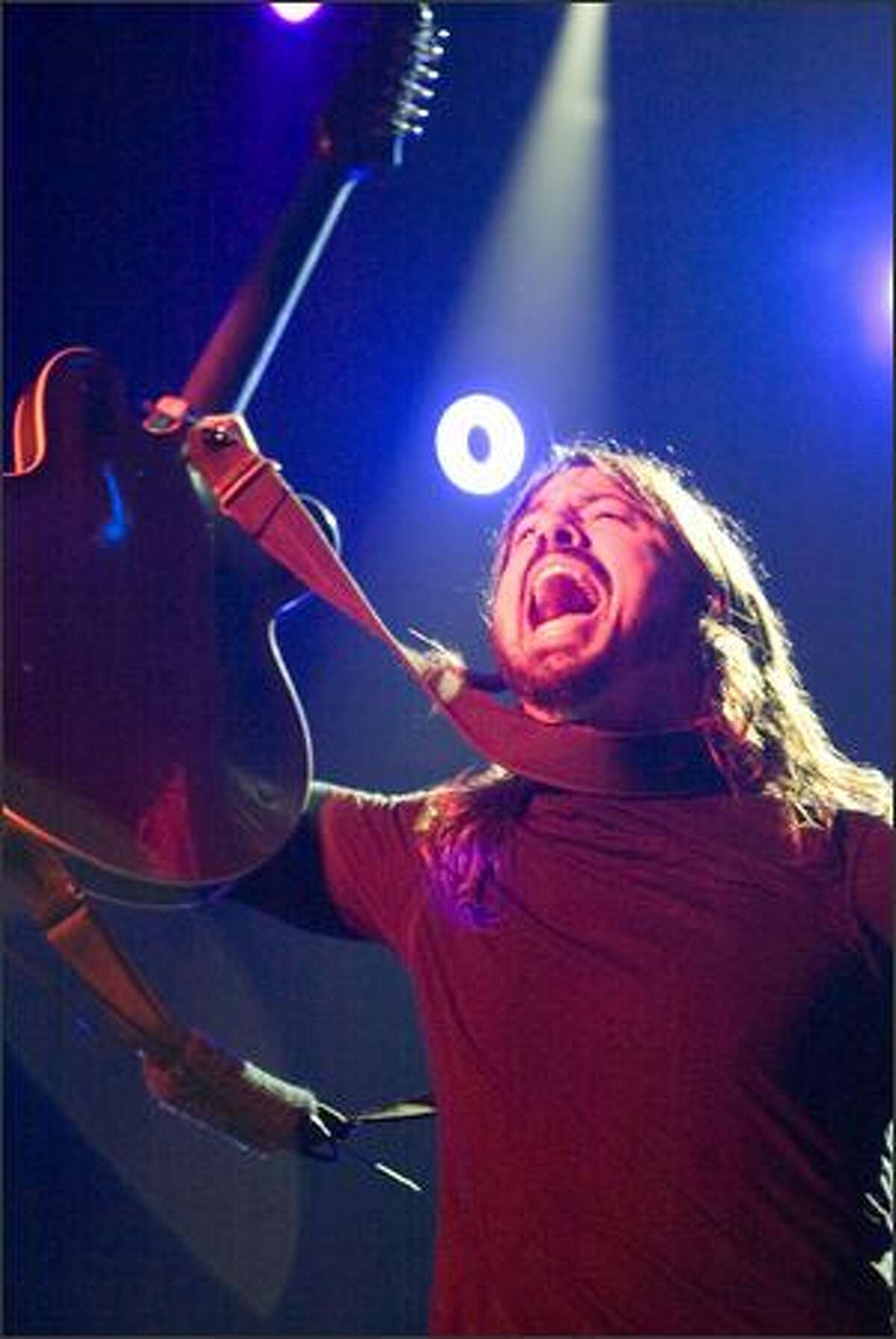 Dave Grohl, lead singer, performs.
